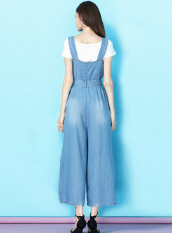 Light Blue Belted Slit Overalls