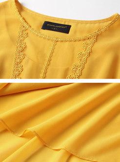 Lace Splicing Chiffon Pure Color Casual Skater Dress