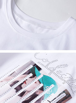 Brief Cotton Print O-neck Loose Daily T-shirt