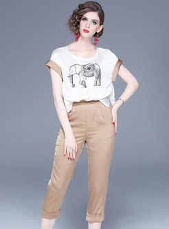 Casual Print O-neck T-shirt & Straight Pants