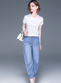 Casual O-neck Drilling T-shirt & Denim Harem Pants