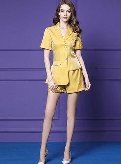 Turn Down Collar Asymmetric Blazer & Shorts
