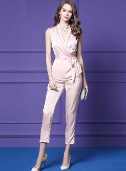 Elegant V-neck Sleeveless Belted Top & Straight Pants