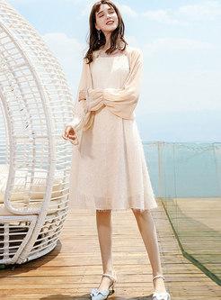 Chic Square Neck Tassel Slip Dress & Flare Sleeve Kimono