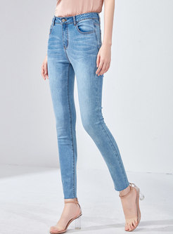 Denim High Waist Elastic Pencil Pants