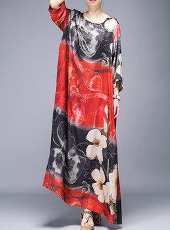 Casual O-neck Multi-color Print Loose Maxi Dress