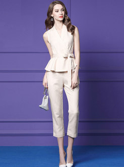 Chic V-neck Sleeveless Belted Top & Slim Pants