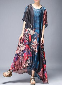 Vintage Print Casual Irregular Maxi Dress With Cami