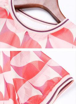 Geometric Print O-neck Shift Mini Dress