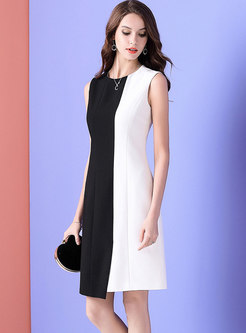 Elegant Striped Color-blocked Splicing Sheath Dress
