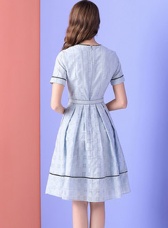 Stylish Light Blue Plaid Gathered Waist A Line Dress