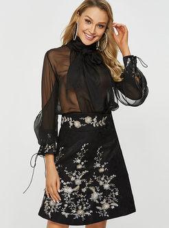Fashion High Waist Embroidered Skirt
