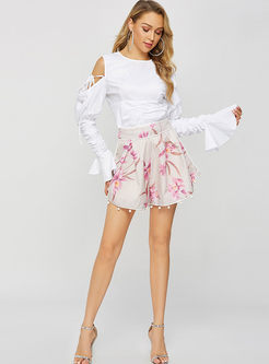 Chic Casual High Waisted Print Wide Leg Shorts