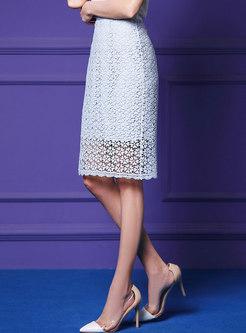 High Waist Pure Color All-matched Slim Sheath Skirt