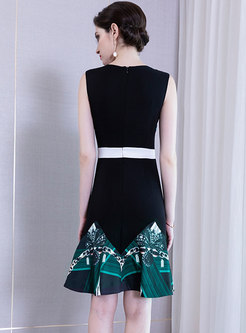 Elegant Color-blocked High Waist Mermaid Bodycon Dress