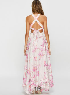 Bohemian Half Backless Print Big Hem Maxi Dress