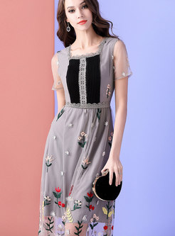 Mesh Embroidered Square Neck High Waist Maxi Dress