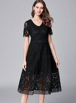 Elegant Lace V-neck Hollow Out A Line Dress