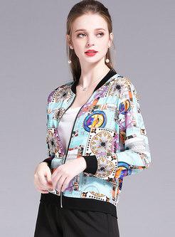 Chiffon Print Crew Neck Zipper Jacket