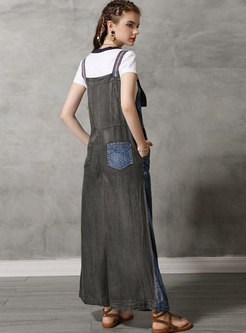Vintage Denim Patchwork Embroidered Overalls