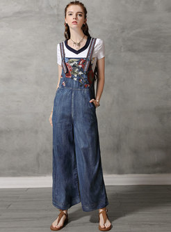 Vintage Denim Splicing Embroidered Overall