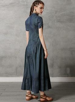Vintage Denim Stand Collar Slim Maxi Dress
