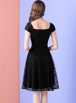 Elegant Lace Square Neck High Waist Skater Dress