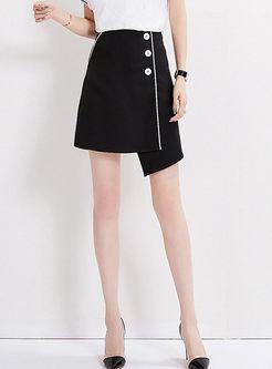 Casual High Waist Asymmetric Mini Skirt