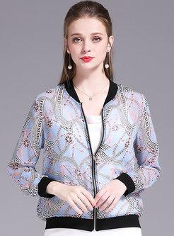 Casual Print O-neck Zipper Short Coat