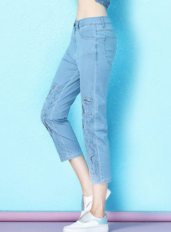 Fashion High Waist Beaded Hollow Out Slim Jeans
