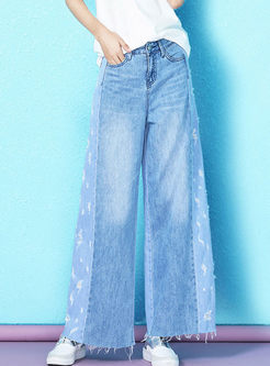 Casual Color-blocked Rough Selvage Wide Leg Pants