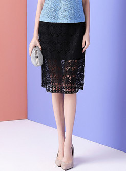 Stylish Hollow Out Lace Black Slim Sheath Skirt