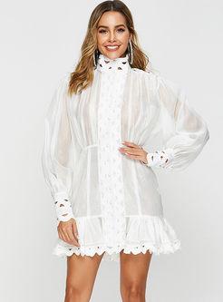 Fashion Falbala Hollow Out Perspective Slim Dress