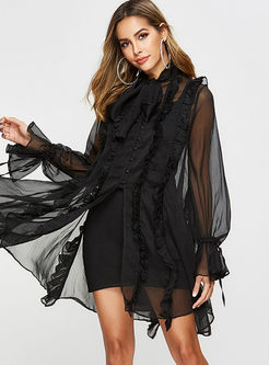 Sexy Long Sleeve Mesh Shift Dress With Cami