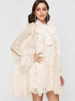 Lantern Sleeve Mini Dress With Cami