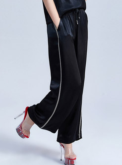 Brief Pure Color Tied Summer Wide Leg Pants