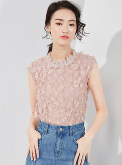 Cute Stand Collar Stereoscopic Flower Pullover Top