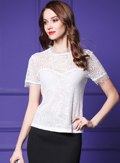 Stylish Hollow Out Lace See-though T-shirt