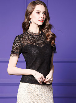 Stylish Black Slim Lace Perspective All-matched T-shirt