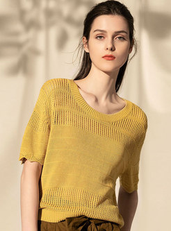 Casual Hollow Out Retro Yellow Loose Knitted Top