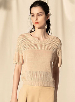 Casual Hollow Out Retro Apricot Loose Knitted Top