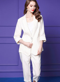Work Pure Color Split Blazer & Linen Calf-length Straight Pants