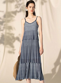 Chic Asymmetric Casual Backless Striped Slip Knitted Dress