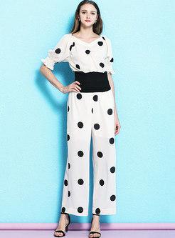Polka Dot V-neck Flare Sleeve Slim Top & Wide Leg Pants