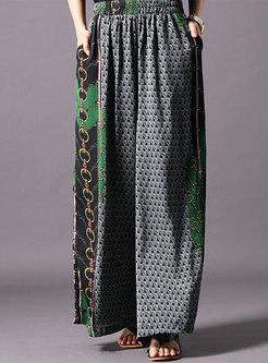 Casual Print O-neck Asymmetric Top & Wide Leg Pants