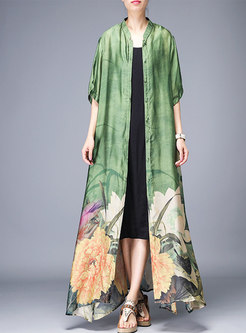 Vintage Print Stand Collar Single-breasted Long Coat