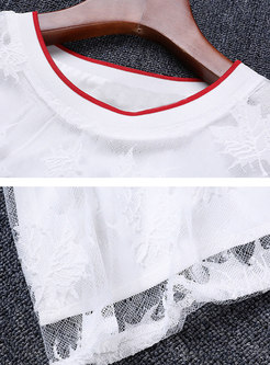 Summer Lace Loose Slim Cute Embroidered Shift Dress