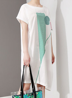Brief Print O-neck Loose T-shirt Dress