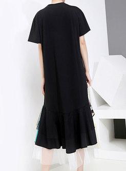 Mesh Embroidered Splicing Summer T-shirt Dress