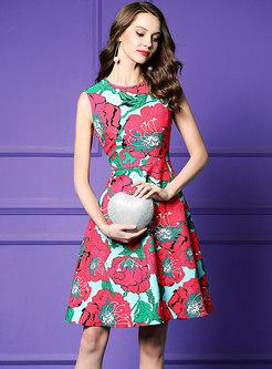 Vintage Floral Print Sleeveless A Line Dress